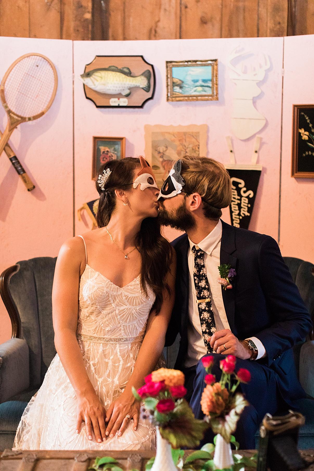 Bride and groom kiss in masks | Balls Falls, Ontario Wedding| Ontario Wedding Photographer| Toronto Wedding Photographer| 3Photography| 3photography.ca