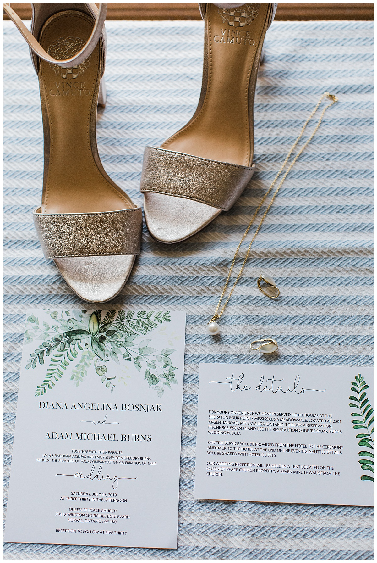Gold wedding shoes, wedding invitations and bridal jewelry| Georgetown, Ontario Wedding| Toronto Wedding Photographer| 3photography