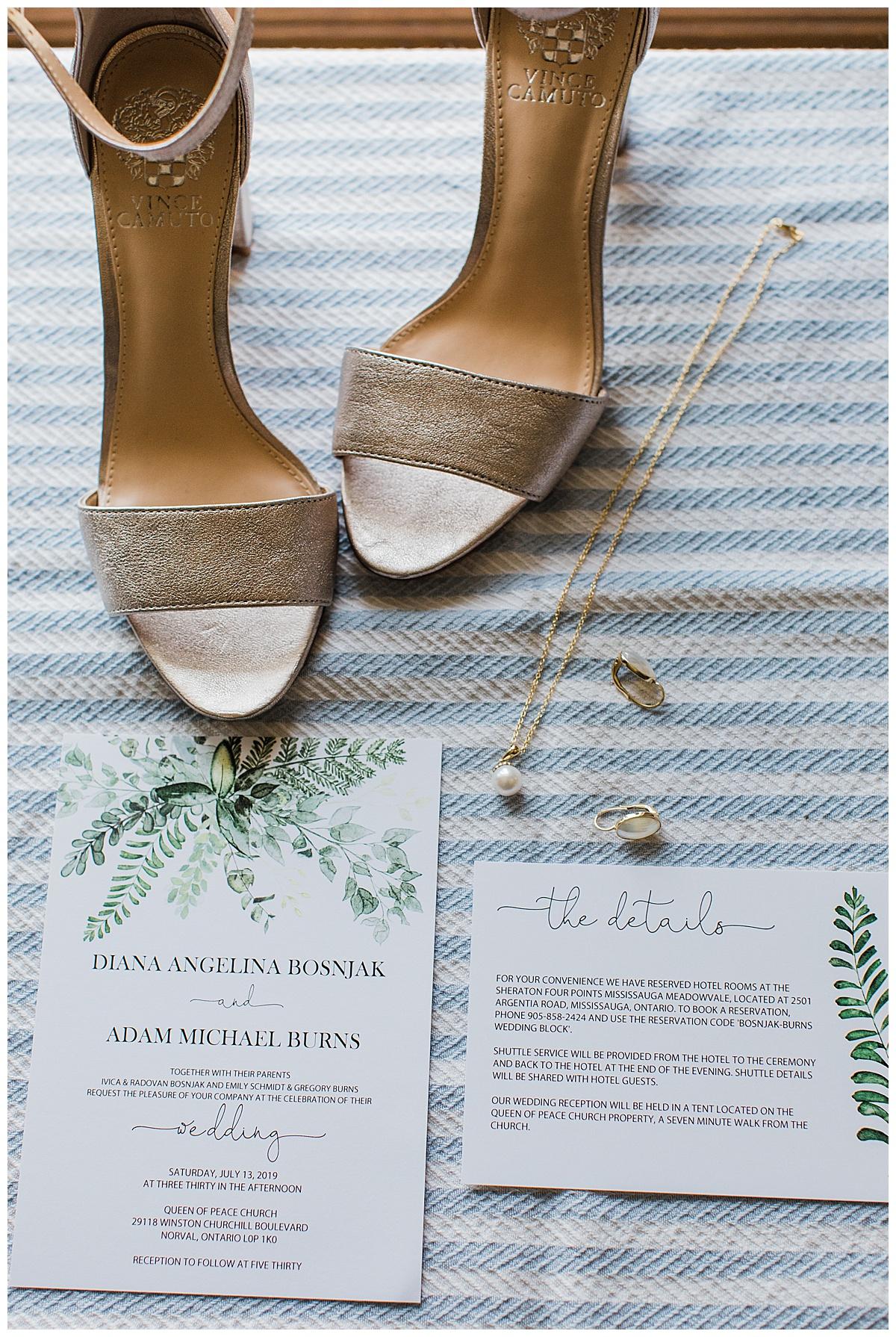 Gold wedding shoes, wedding invitations and bridal jewelry| Georgetown, Ontario Wedding| Toronto Wedding Photographer| 3photography