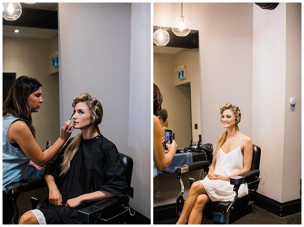 Bride getting ready in makeup  Ontario Wedding  Toronto Wedding Photographer  3photography