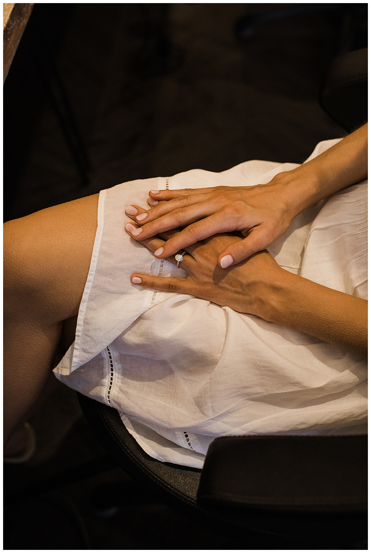 Bride's hands folded in lap while getting ready  Ontario Wedding  Toronto Wedding Photographer  Ontario Wedding Photographer  3photography