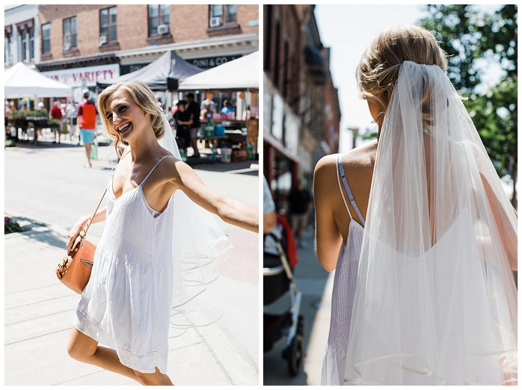 Bride walking down the street in white sundress with veil on  Georgetown,  Ontario wedding  Toronto wedding photographer  3photography