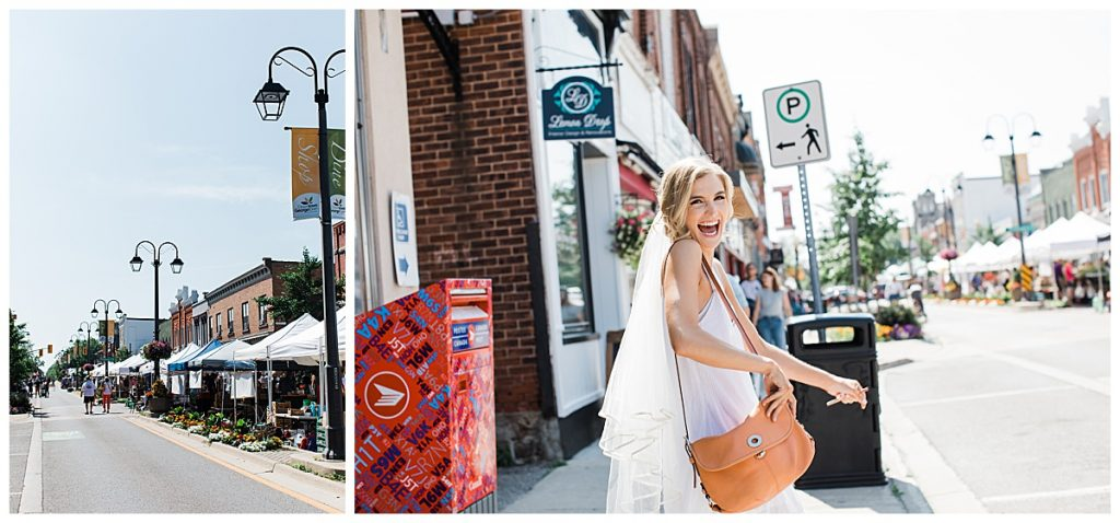 Bride walking down the strip  Georgetown, Ontario wedding  3photography