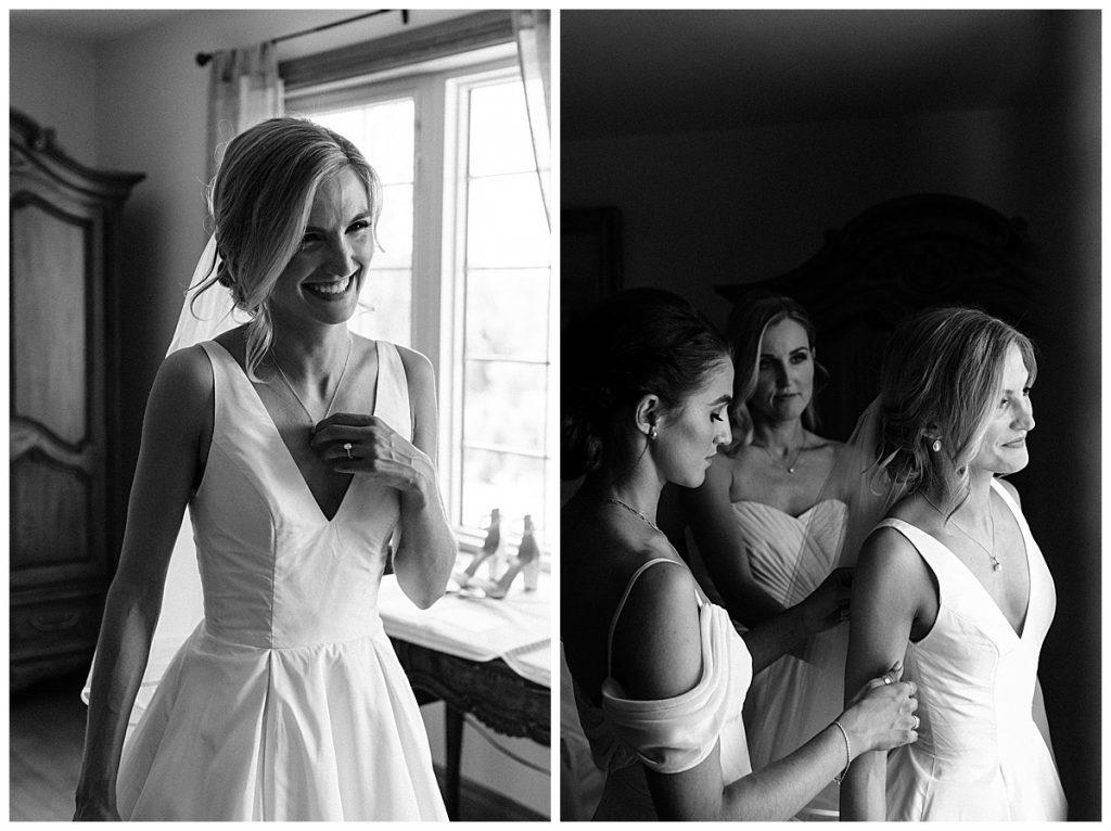 Black and white shot of bride smiling big and bridesmaids around her  Toronto wedding photographer  3photography