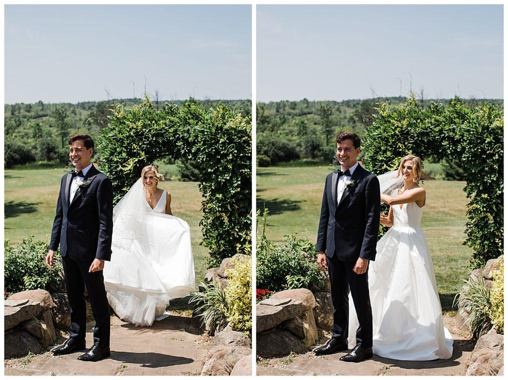 Bride sneaks up on groom for first look  Georgetown, Ontario wedding  Toronto wedding photographer  3photography