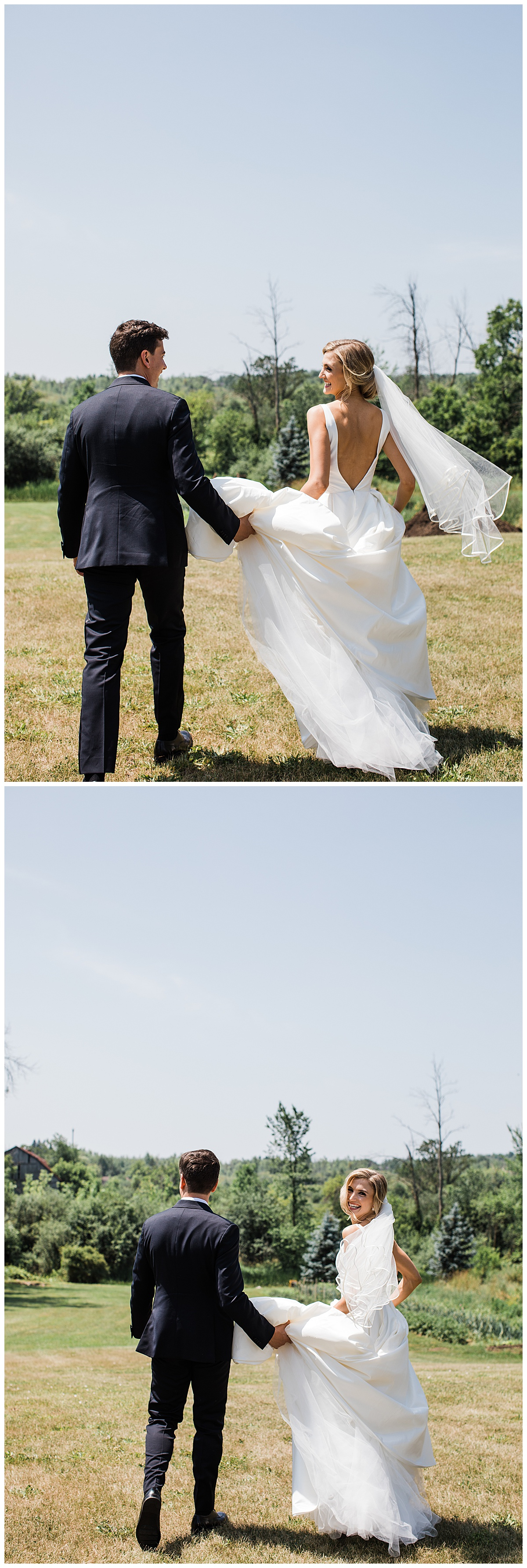 Bride and groom walking away in a field while groom holds bride's train  Ontario wedding  Toronto wedding photographer  3photography