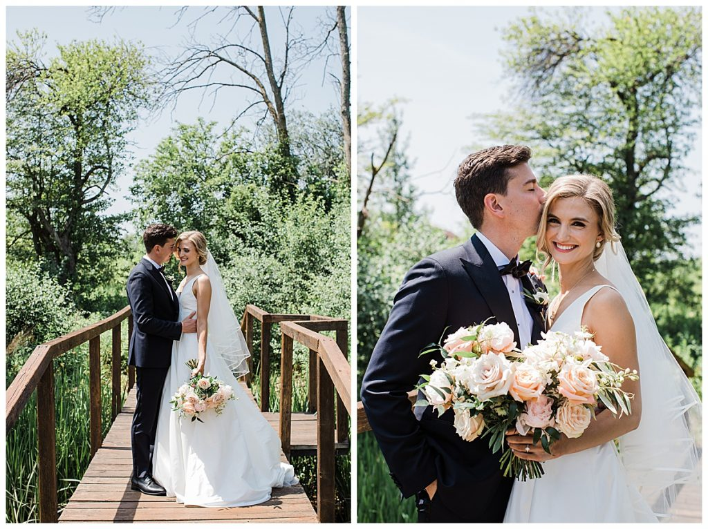 Bride and groom stand on bridge and kiss| Ontario wedding| Toronto wedding photographer| 3photography