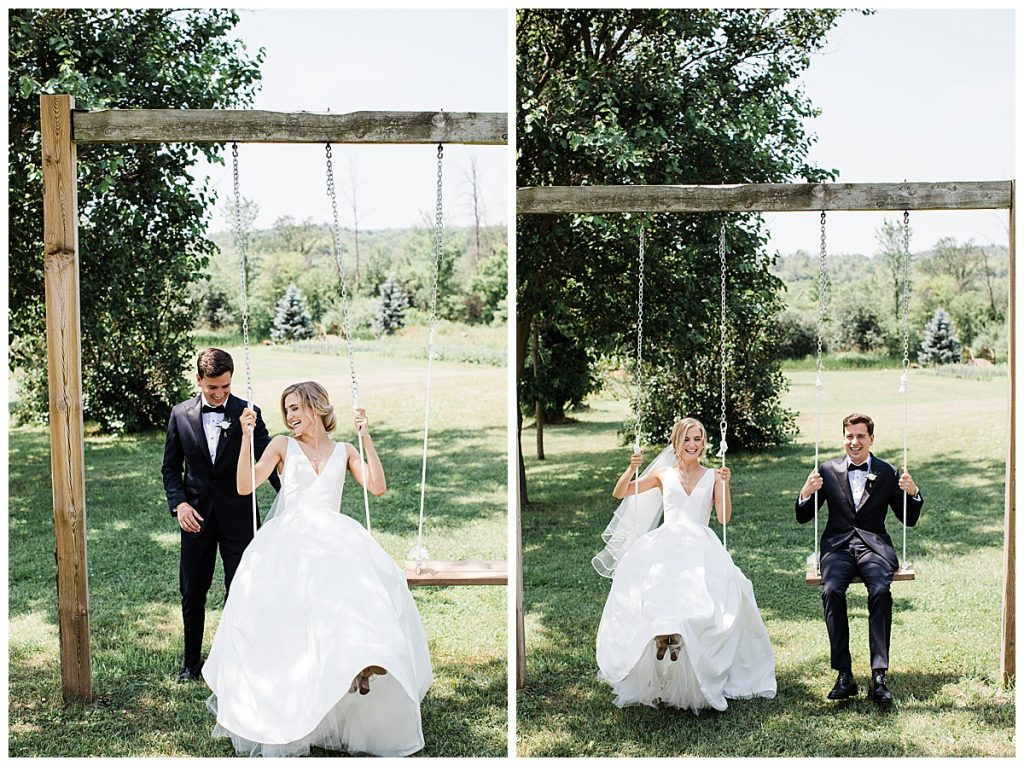Bride and groom on swings| Georgetown, Ontario wedding| Toronto wedding photographer| 3photography
