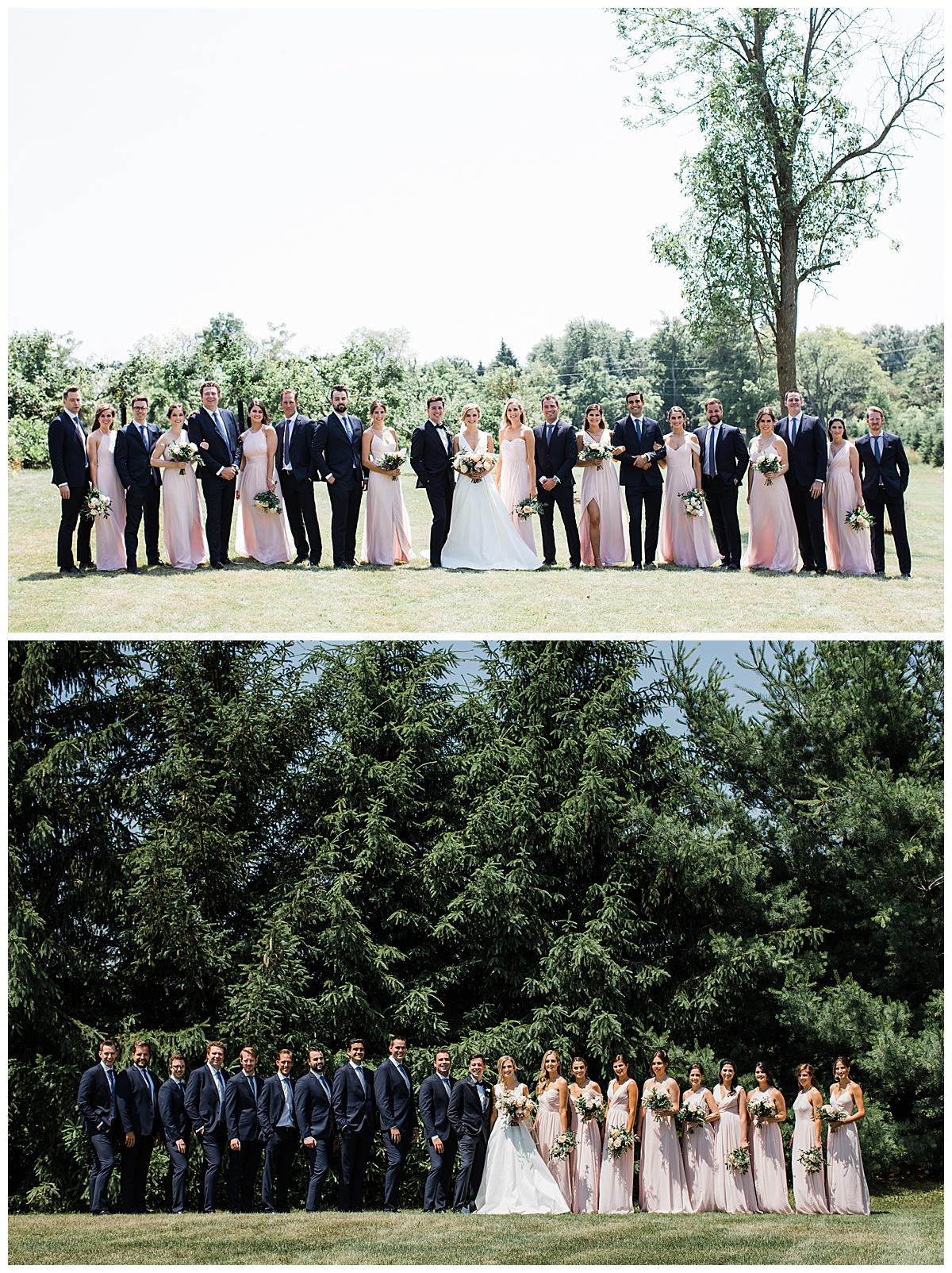 Bridal party group photos in front of pretty trees  Navy and pink  3photography