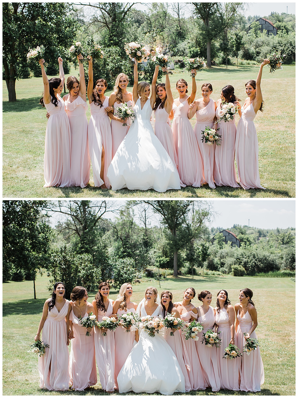 Bridesmaids group photo  Pink and white  3photography