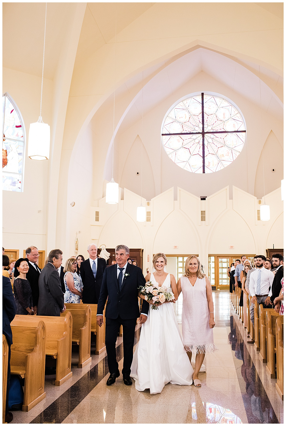 Bride walking down aisle with parents  Ontario wedding  Toronto wedding photography  3photography