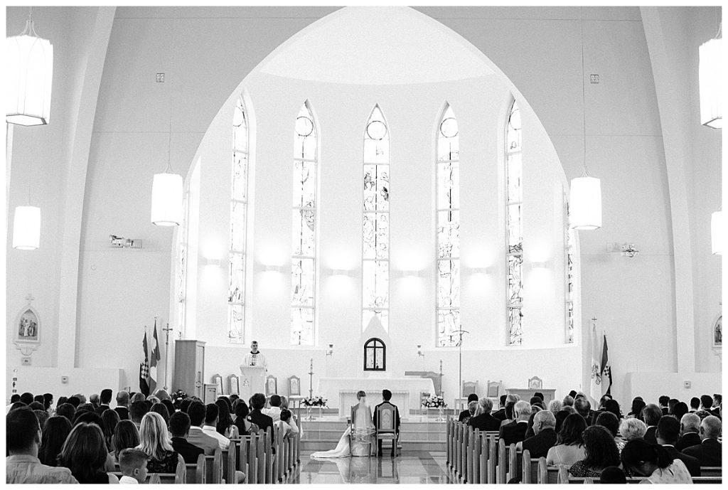 Gorgeous black and white view of inside of chapel  Ontario wedding  Toronto wedding photographer  3photographer