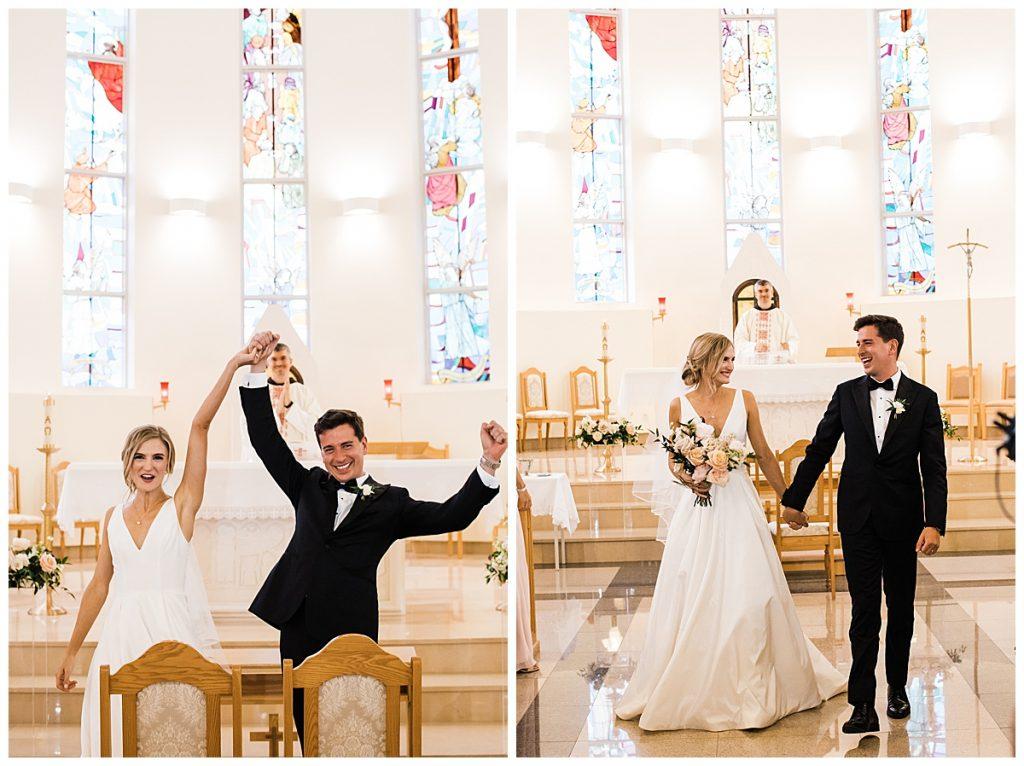 Bride and groom raise hands in celebration at alter  Ontario wedding  Toronto wedding photographer  3photography