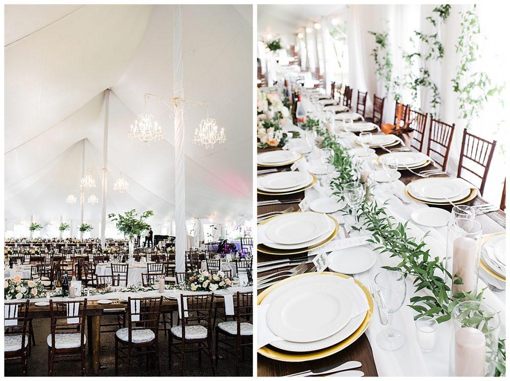 Wedding table with garland runner|  Georgetown Ontario wedding| Toronto wedding photographer| 3photography