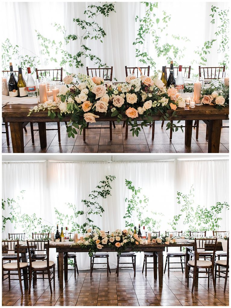 Wedding table with floral runner  Georgetown, Ontario   Toronto wedding photographer  3photography