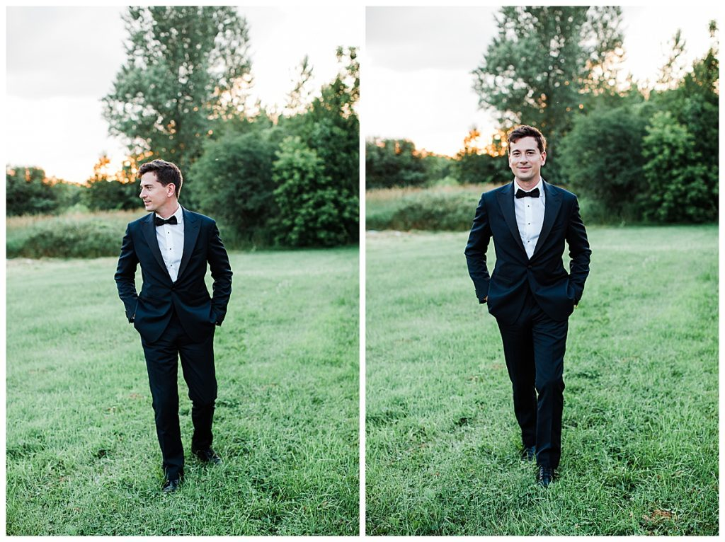 Groom walking forward on grass  3photography