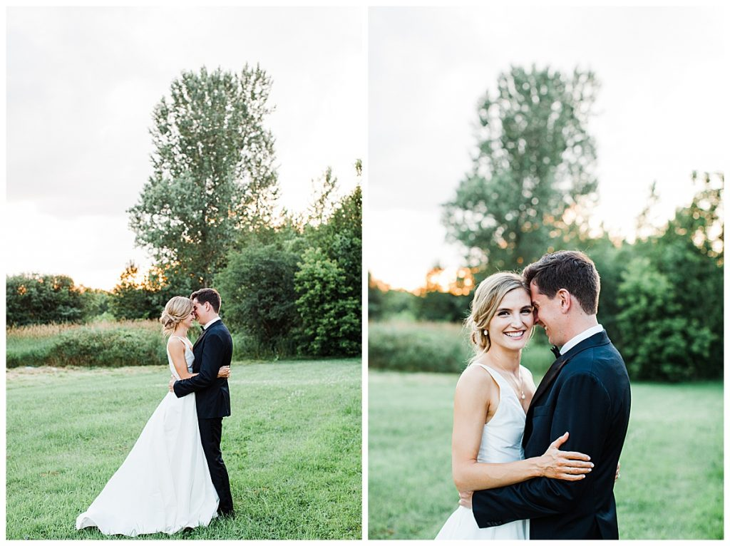 Bride and groom cuddle in field at sunset  Georgetown, Ontario wedding  Toronto wedding photographer  3photography