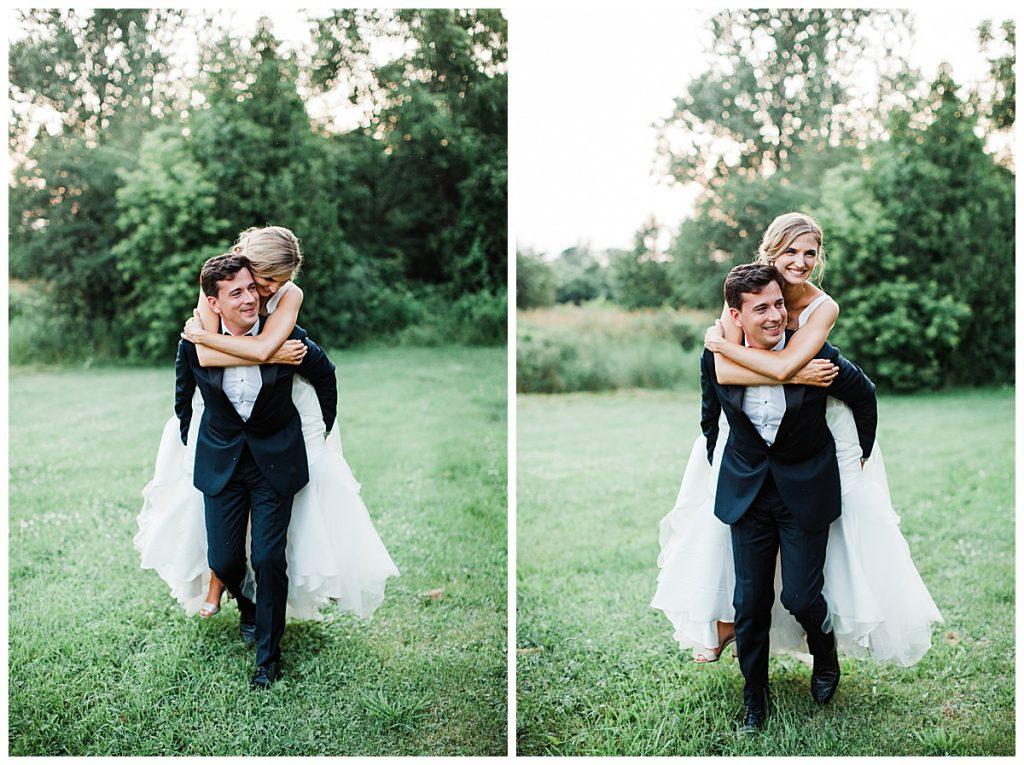 Bride rides piggyback on her groom in a field| Georgetown,  Ontario wedding| Toronto wedding photographer| 3photography