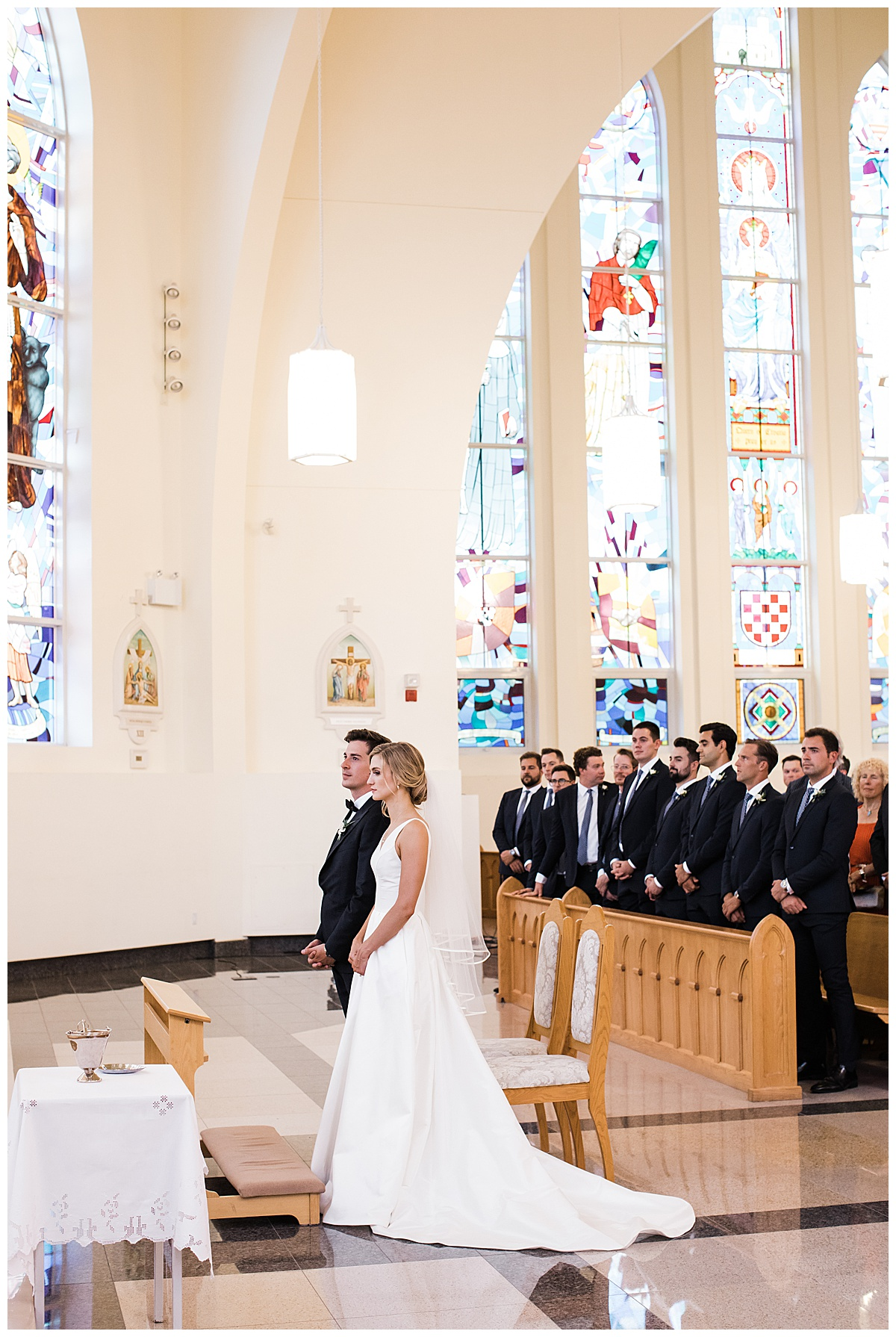 Bride and groom stand at alter  Ontario wedding  Toronto wedding photography  3photography