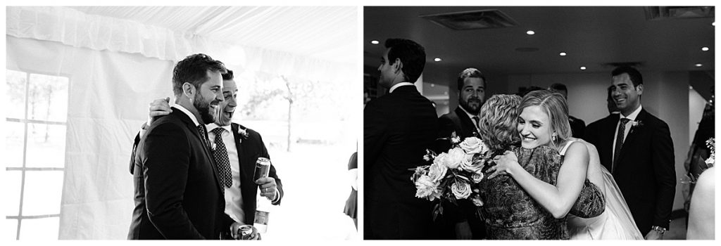 Black and white photos of bride and groom greeting wedding guests  3photography