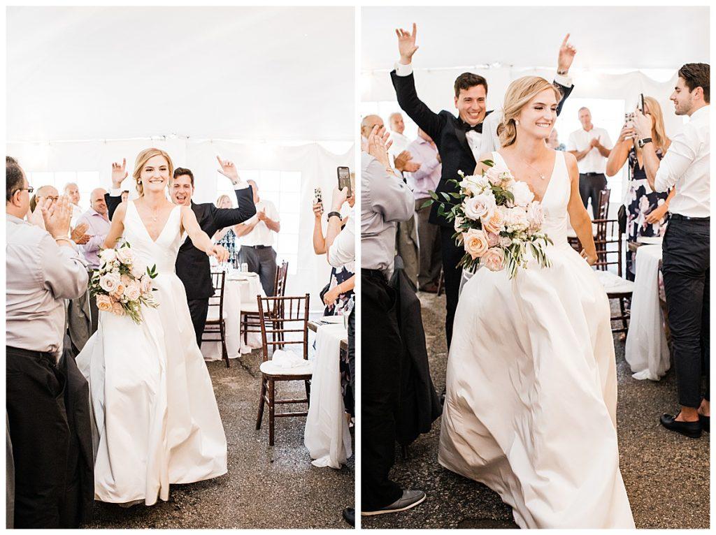 Bride grinning while walking into wedding reception  Ontario wedding  Toronto wedding photography  3photography