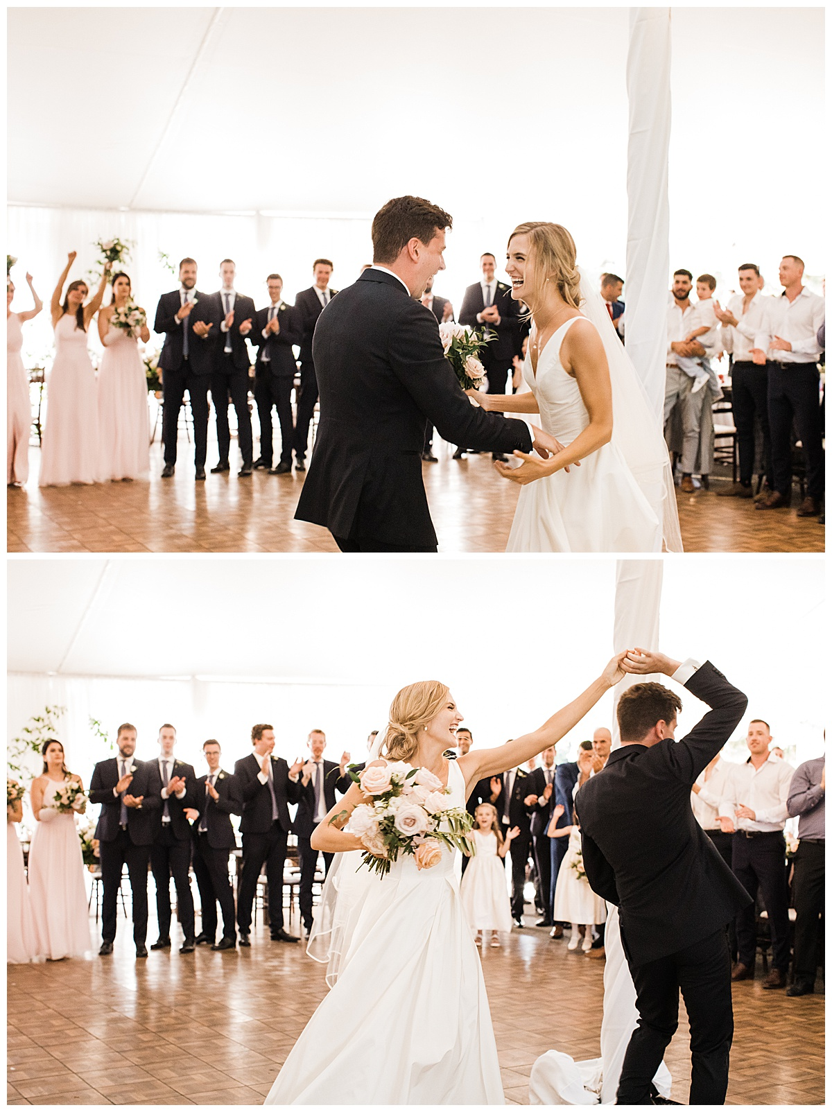 Bride and groom laughing and dancing  Ontario wedding  Toronto wedding photographer  3photography