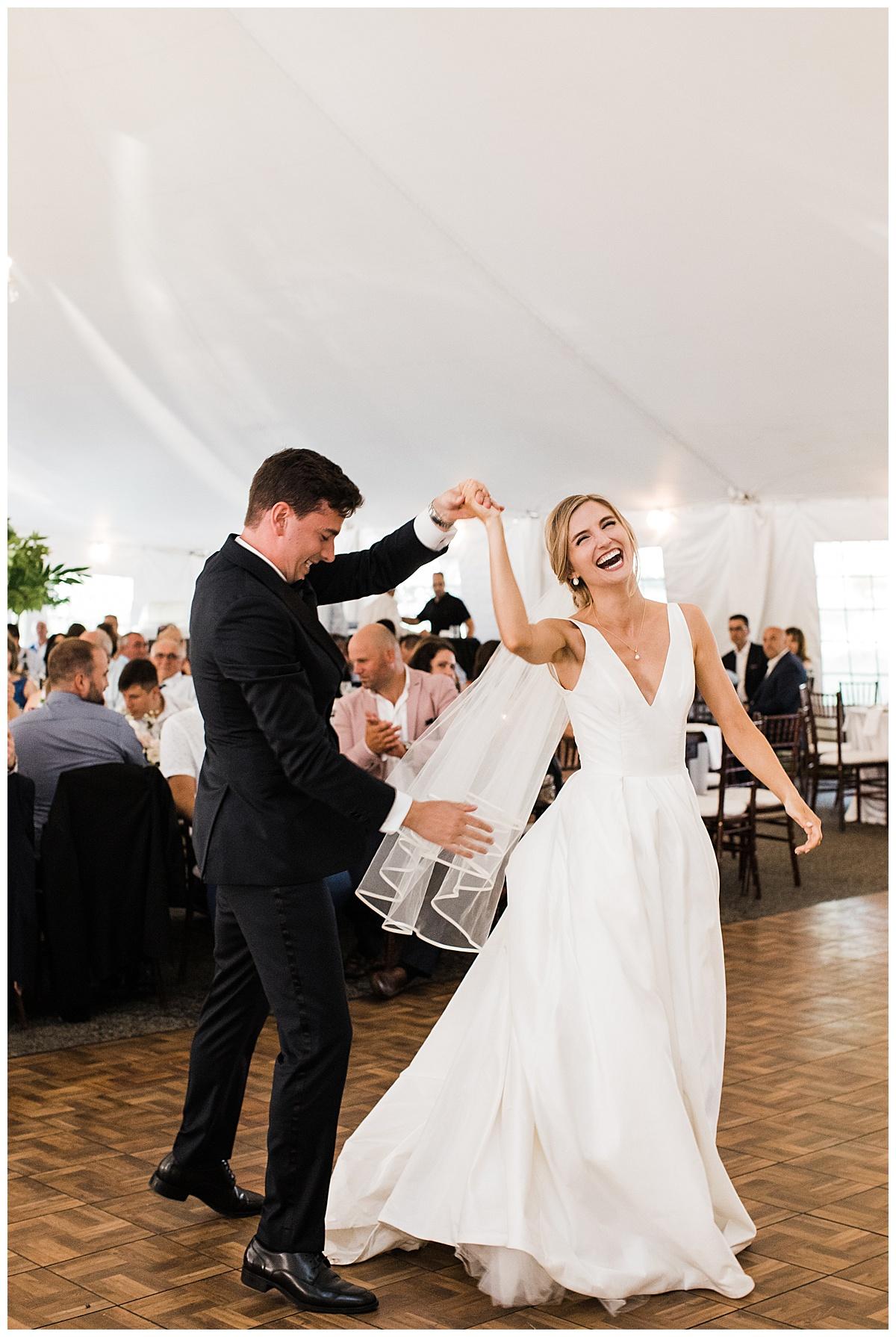 Bride and groom dancing and laughing on dance floor Georgetown,  Ontario wedding  Toronto wedding photographer  3photography