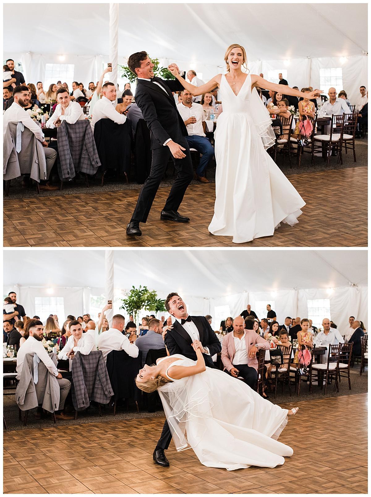 Bride and groom show out on the dance floor  Ontario wedding  Toronto wedding photographer  3photography