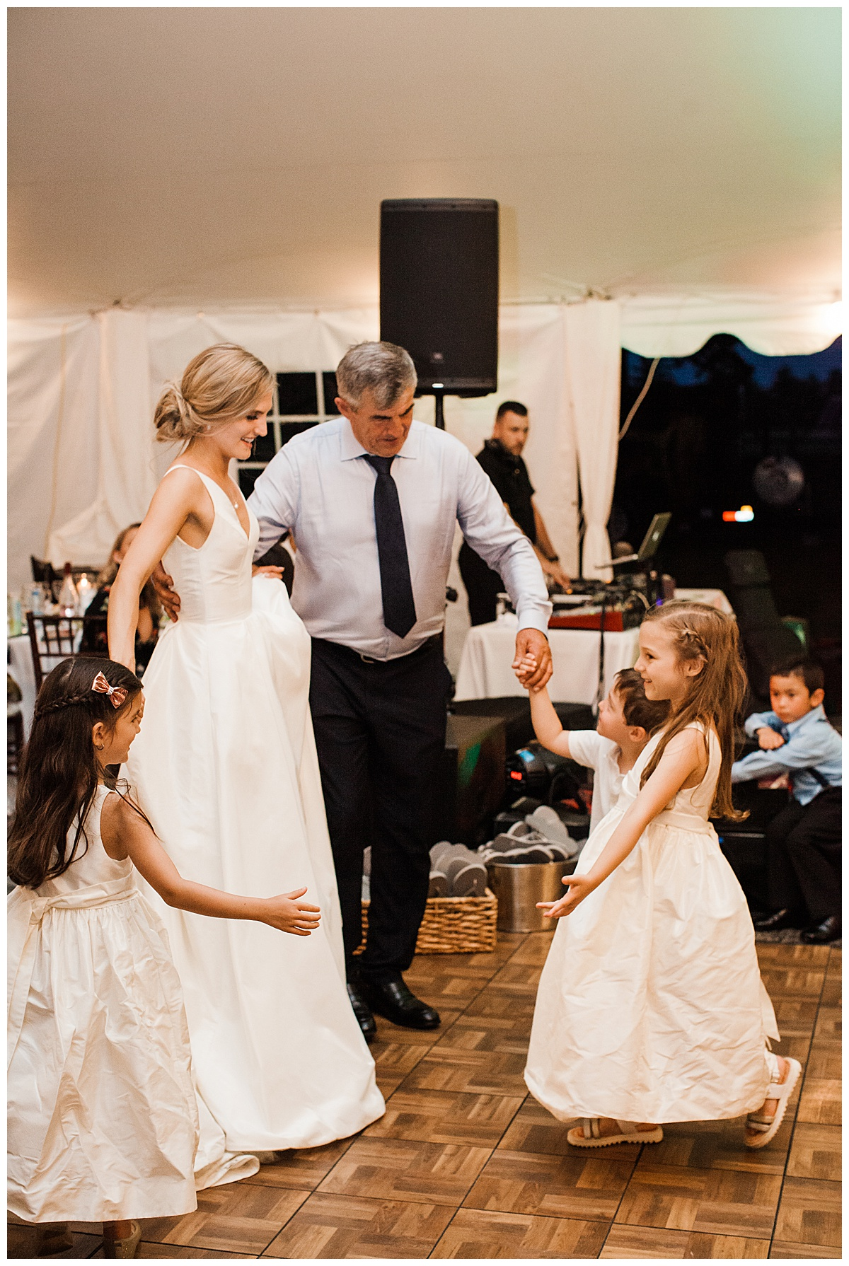 Bride and her father dance with little ones  3photography