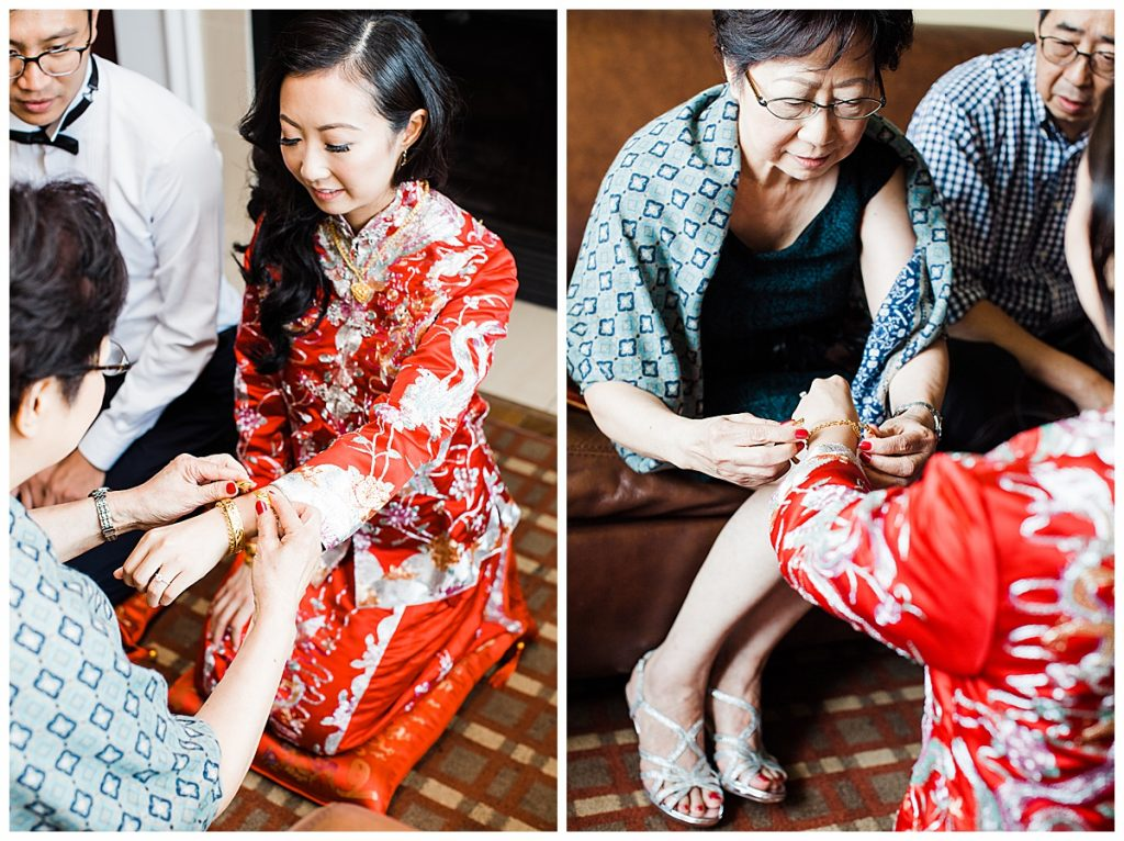 Mother of the bride placing bracelet on bride's wrist| wedding traditions| 3photography