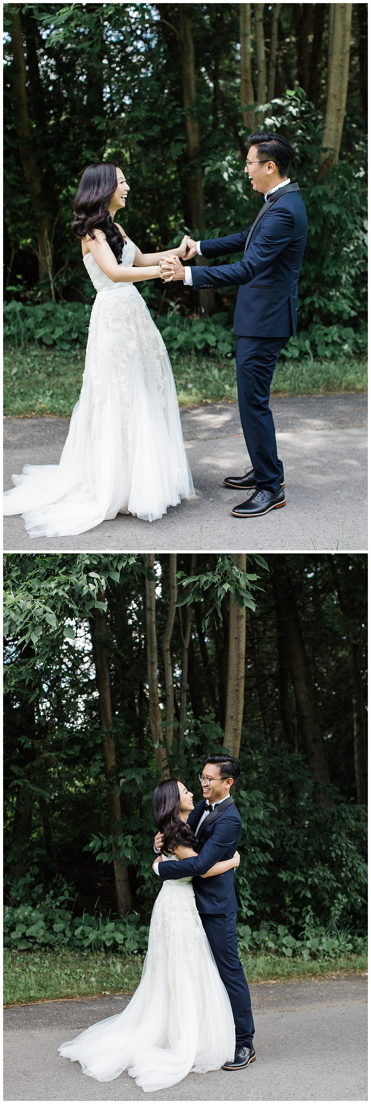Bride and groom see each other in excitement and hug at first look| 3photography