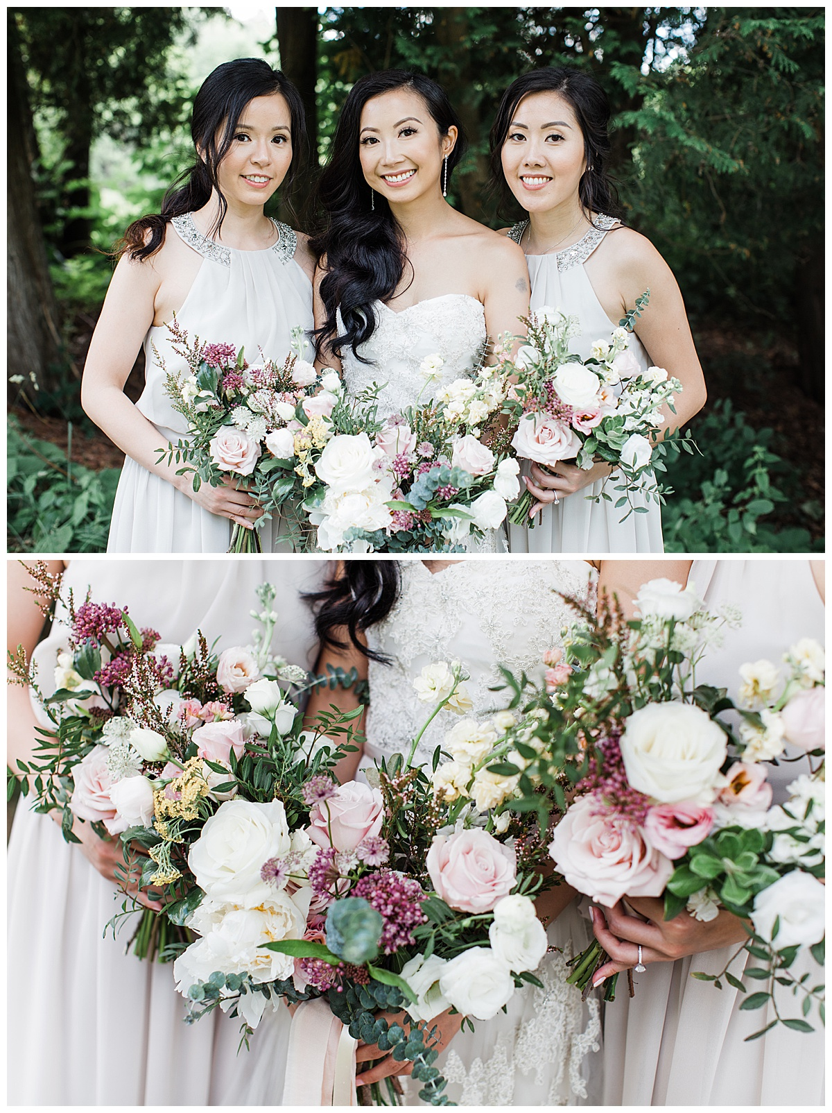 Bridal party portrait and bridesmaids bouquets| bridal bouquet pink white and green| Toronto photographer| 3photography