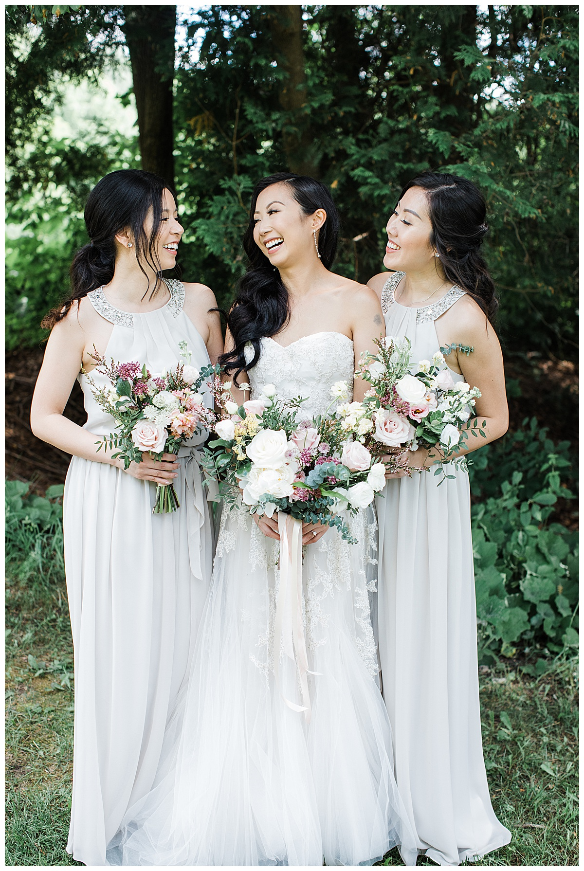 Bride smiling with her bridesmaids| neutral bridesmaids dresses| winery wedding| 3photography
