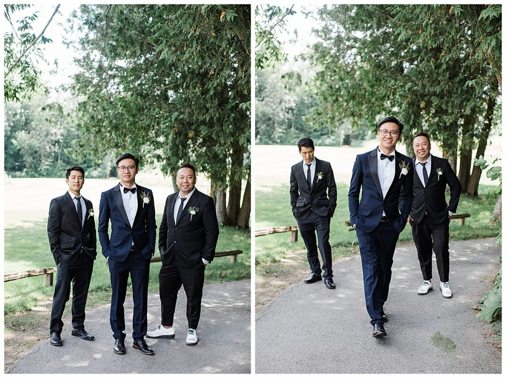 Groom and groomsmen walking outside along tree paved road| winery wedding| 3photography