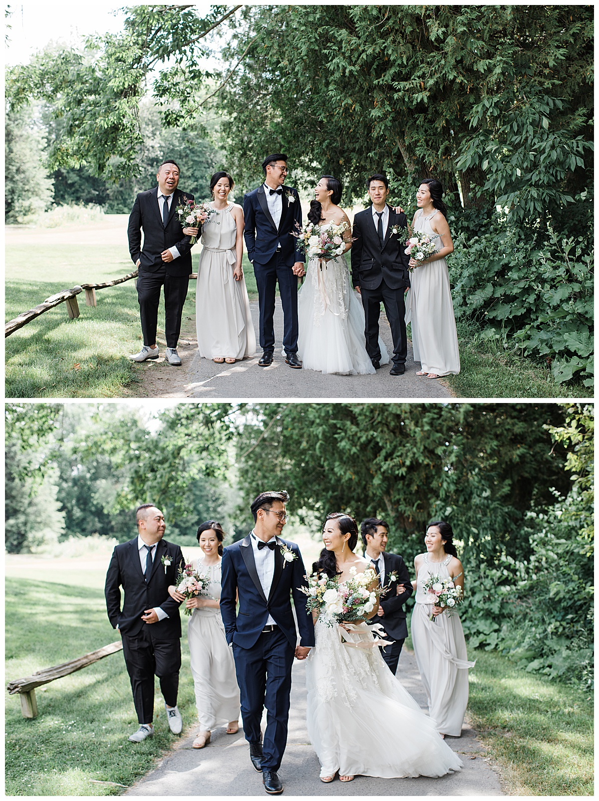 Gorgeous asian bridal party walking with bride and groom at outdoor winery wedding| Adamo Estate Winery Wedding| Toronto photographer|  3photography