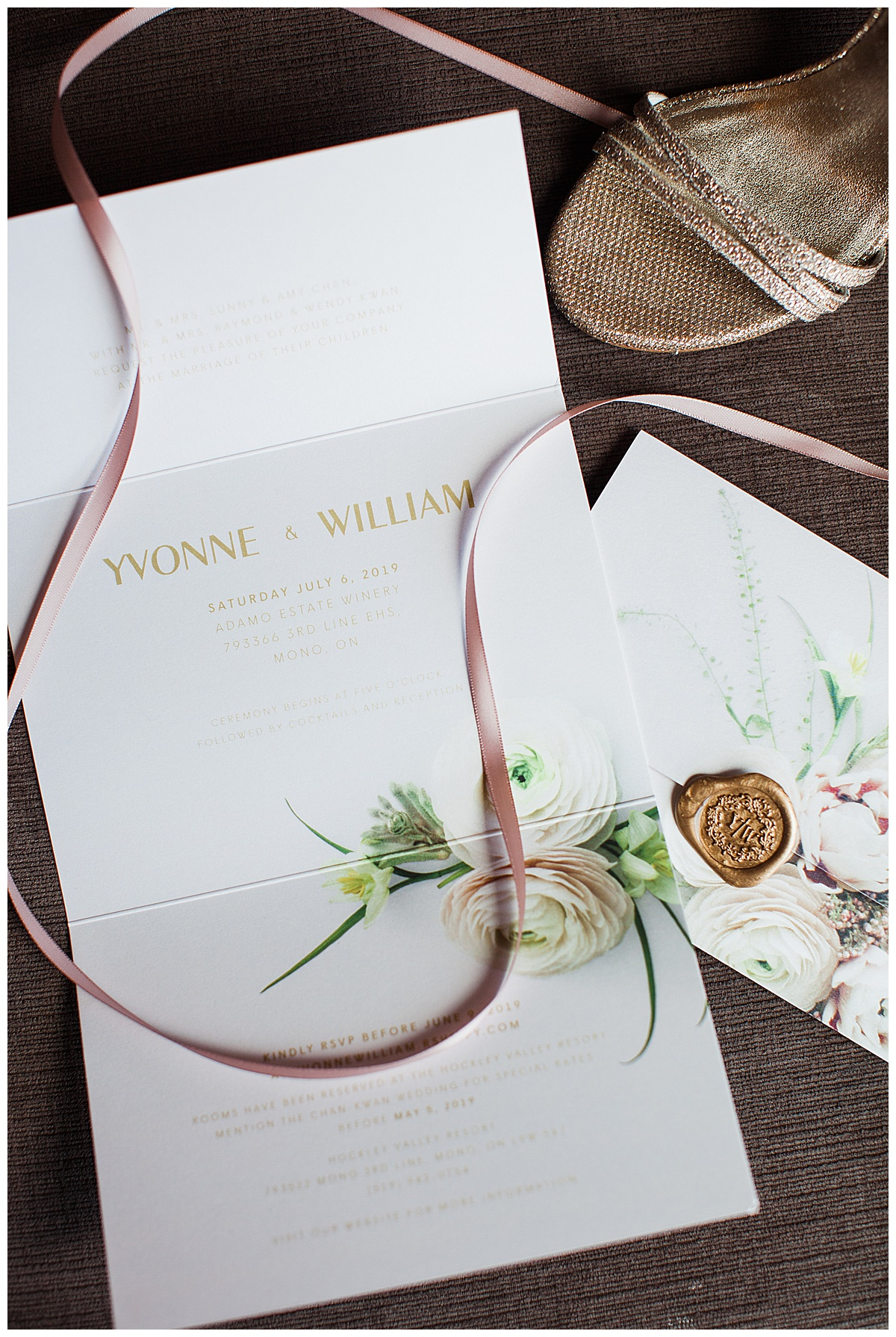 Printed white floral wedding invitations with pink and gold accents for winery wedding| 3photography| Toronto photographer| Adamo Estate Winery