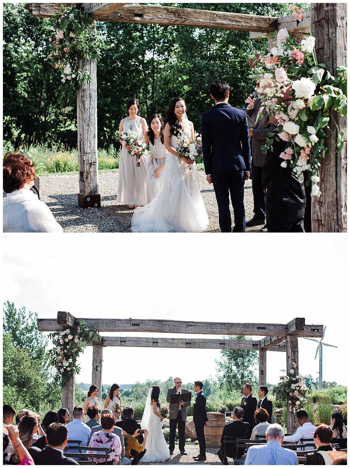 Bride and groom standing at alter at gorgeous winery wedding| wedding pergola| outdoor wedding| Adamo Estate Winery wedding| Toronto photographer| 3photography