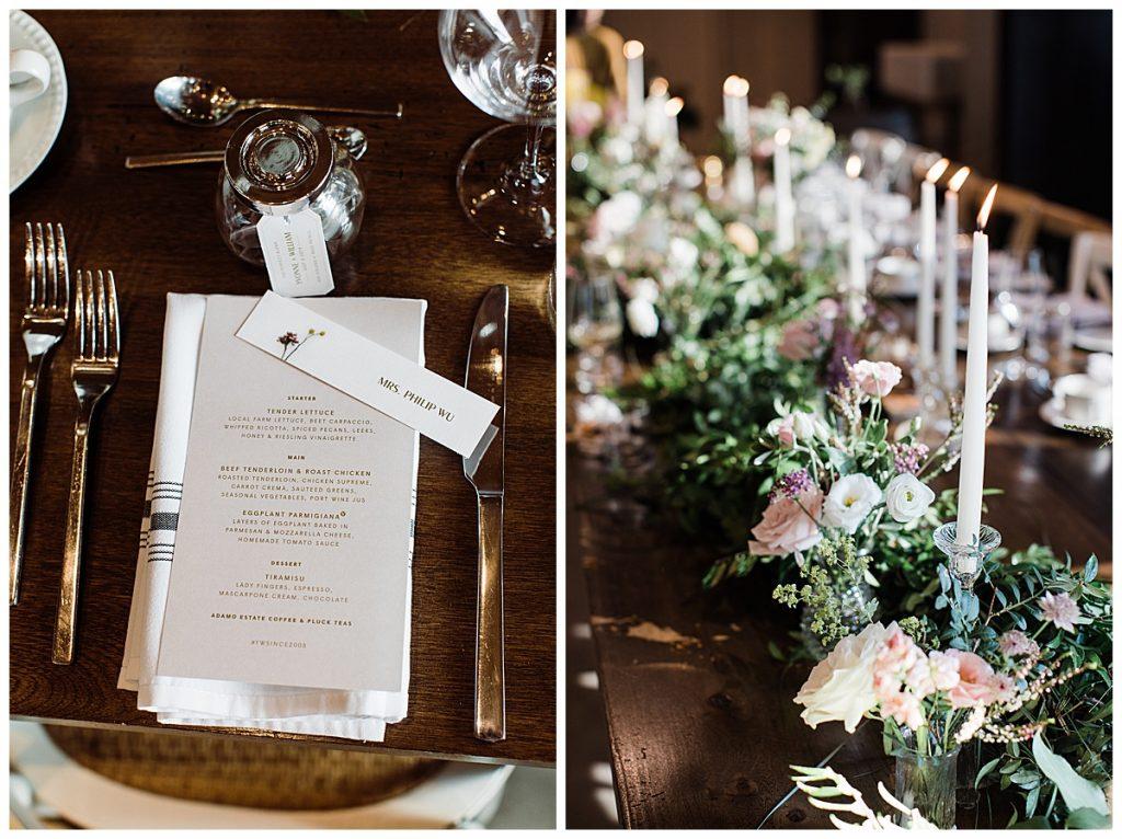Winery wedding| Wedding reception candlestick candlelit dinner| wedding reception menu| 3photography