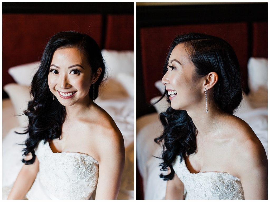 Blushing bride smiling and laughing| Adamo Estate Winery Wedding| 3photography