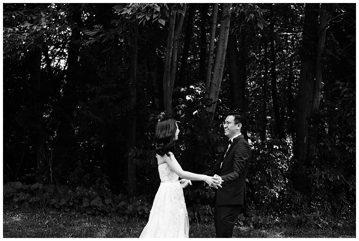 Black and white of groom's reaction to seeing bride for the first time| first look| 3photography